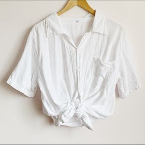 casual white crinkle cotton button up short sleeve